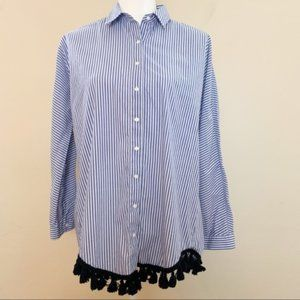 Zara Woman Longsleeves Tassle Stripe Top Sz Medium